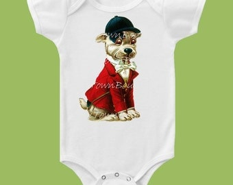 Hunting Dog t-shirt, Vintage Red Coat,Hunt Club, One Piece Baby, Bodysuit,Tank or T Shirt, equestrian,  by ChiTownBoutique.etsy