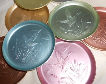 Aluminum Coasters Atomic Duck Anodized Rainbow (8) Eight Stacking Coasters Embossed Wild Duck Scene