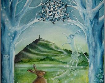 "Print Hare ""Gateway""  Glastonbury Tor. Moon Celtic"
