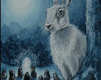 "Print Hare ""White Magic"" Moon, trees"