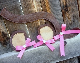 Halloween Costume Monkey Tail and Monkey Ear Clippies