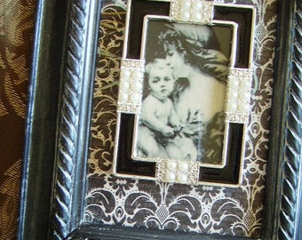 Paris chic Black Elegance, Madonna and Child Wall decor,  Upcycled, black and off white, faux pearl