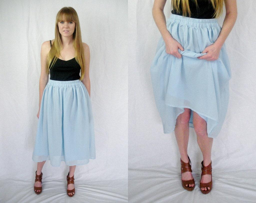 baby blue sheer midi skirt