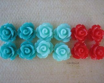 Mini Rose Flower Cabochons, 10mm Mini Roses, 12 pcs Shiny Resin Roses, Mint Cherry Sampler Pack, Rose Flower Cabs, Diy Crafts and Supplies