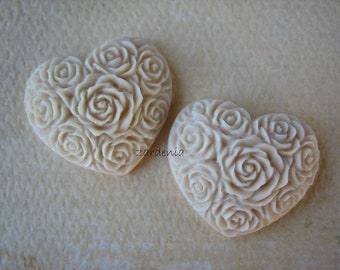 2PCS - Heart Flower Cabochons - Resin - Creme Brulee - 19x21mm - Cabochons by ZARDENIA