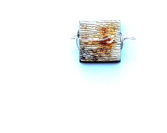 wire wrapped pendant. unique square horn pendant. FREE SHIPPING. mens gift or unisex gift. sterling wrapped zipper pull key fob