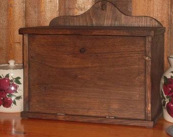 PRIMITIVE BREAD BOX With Built-In Shelf