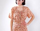 Vintage 1950s Dress - 50s Cocktail Dress - Peach and Brown Floral Print - Plus Size