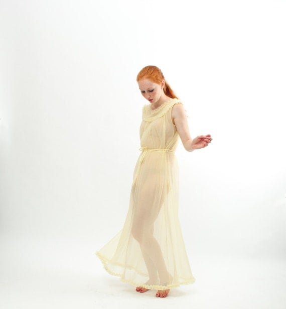 Vintage 1960s Nightgown - 60s Lingerie - Sheer Pale Yellow Grecian Style