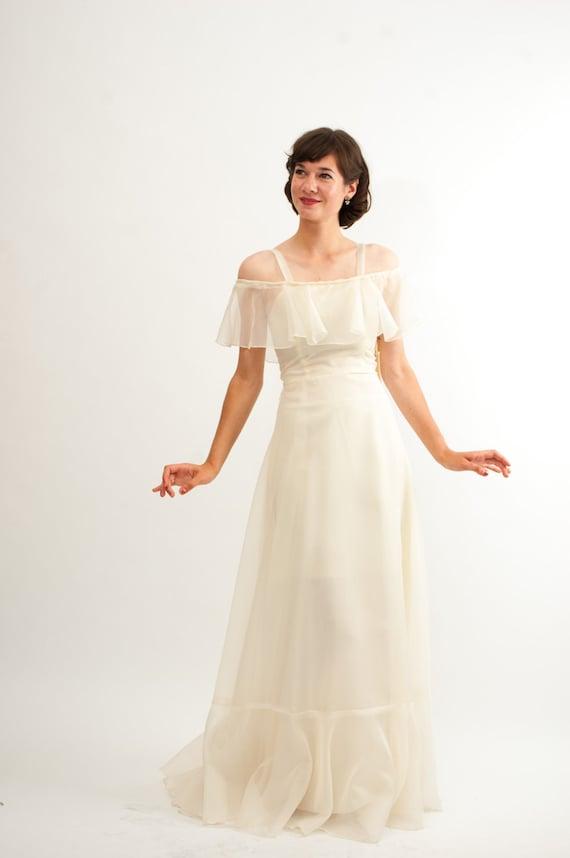Vintage 1970s Wedding Dress - 70s Wedding Gown - Sheer Ivory - Deadstock
