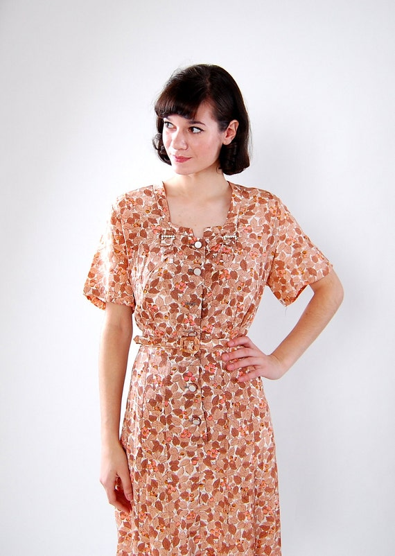 Vintage 1950s Dress - 50s Cocktail Dress - Peach and Brown Floral Print - Plus Size