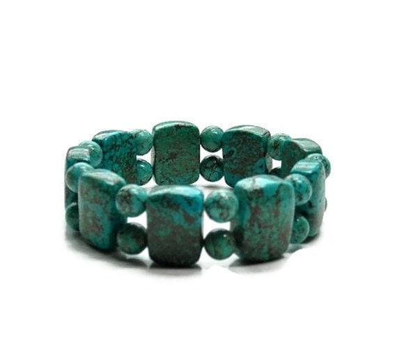 Turquoise Stretch Cuff Bracelet, Chunky, Southwest, Tribal, Cowgirl, Western