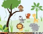 Jungle Safari Animal Clip Art - monkey, tiger, giraffe, zebra, lion, elephant - 5 patterned digital papers - Digital - Instant Downloads