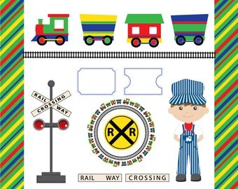 All Aboard the Party Train Clip Art - in Red, Yellow, Green and Blue