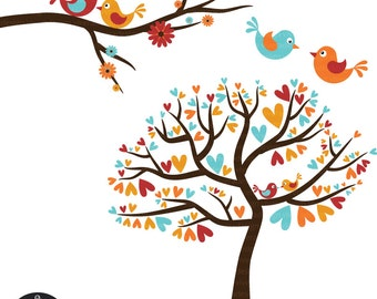 Love Birds in Autumn Colors - Vintage Fall - Digital Clip Art
