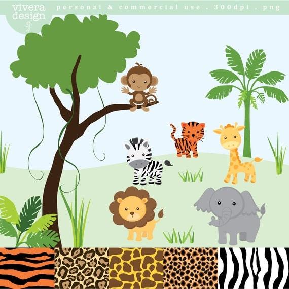 Jungle Safari Clip Art - monkey, tiger, giraffe, zebra, lion, elephant ...
