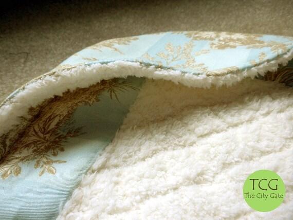Custom Toile Hooded Baby Blanket