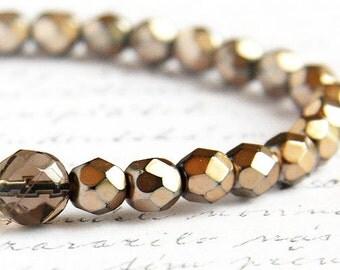 Dark Gold Bracelet Smoky Quartz Bracelet Girlfriend Gift for mom wife woman friend Minimal Bracelet Stackable Bracelet Bohemian Bracelet