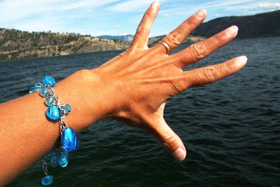 Ocean Blue Glass Charm Bracelet, Loaded with AQUA BLUE Silver Foil Lampwork Beads,Beach Jewelry, Boho Bracelet, Bohemian fashion accessory