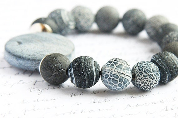 Natural Blue Gray Agate Bracelet. Stacking Bracelet. Sterling Silver. Frosted Black Stones. Chunky Statement Bracelet. Tribal Inspired. TAG