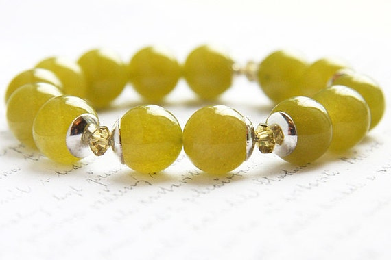 NEW Fall Color. Mustard Green Agate Bracelet. by KapKaDesign