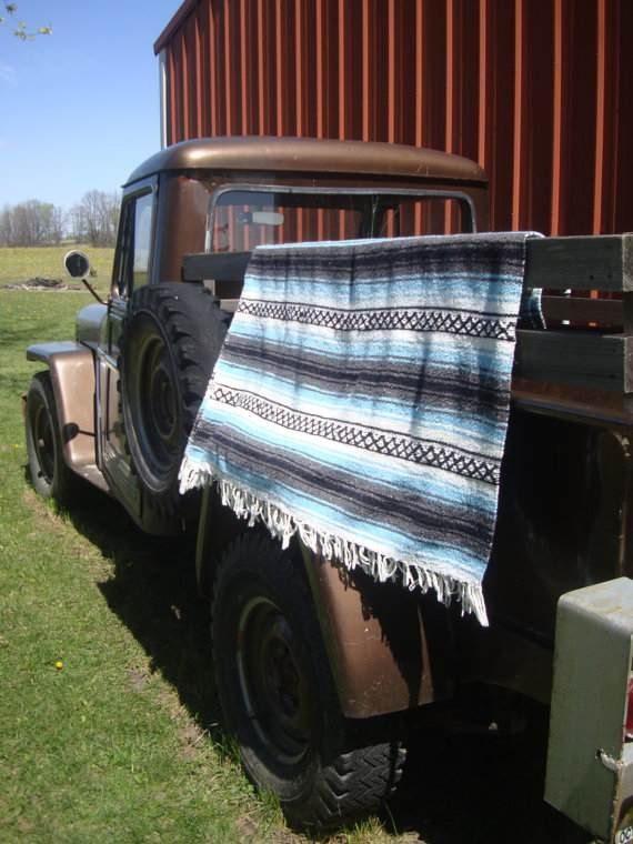 Vintage Hippie Shabby Chic Blanket Black Blue Gray and White