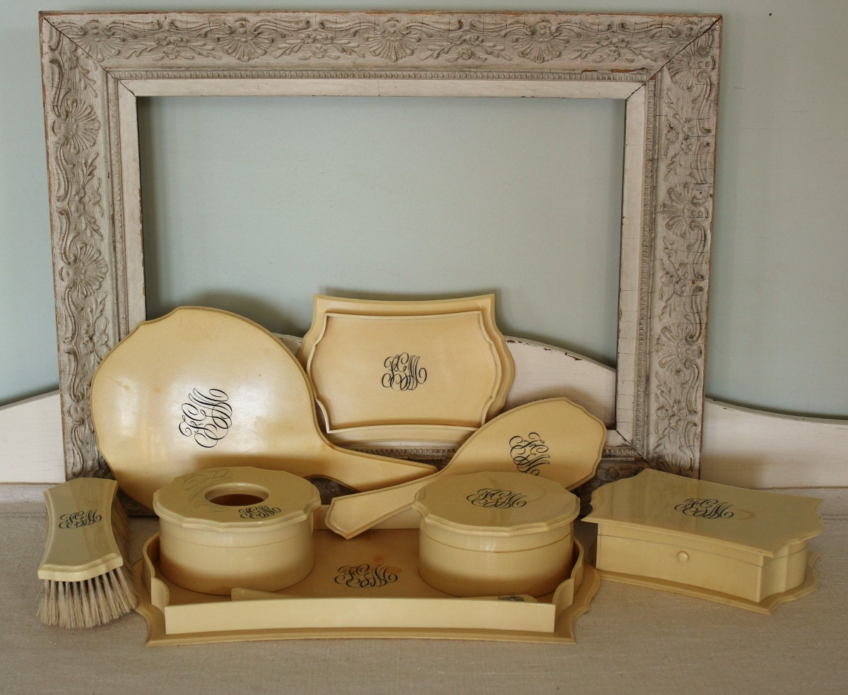 Vintage French Ivory Vanity Set
