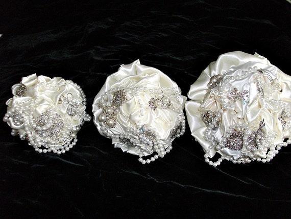 Alternative bridal brooch bouquet,  wedding bouquet, Maid of Honor,,bridesmaid flower girl bouquet,