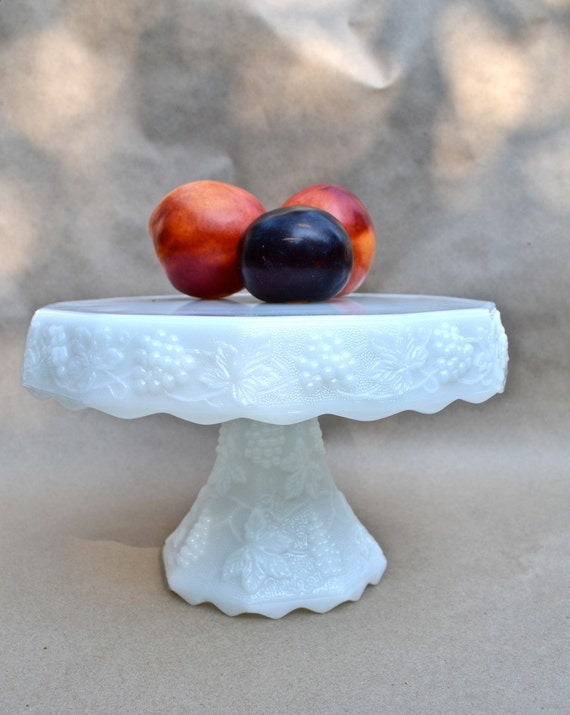 Anchor Hocking Grapes and vine Milk Glass Cake Stand