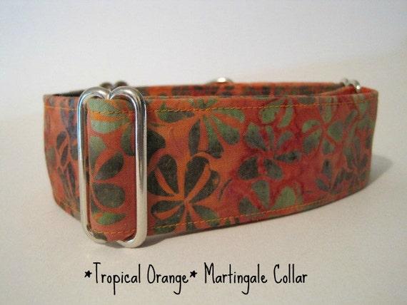 "1.5"" Martingale Collar, Dog Collar, Orange Batik, Tropical, Wide Dog Collars, Greyhound Collar, Last 1 in stock"