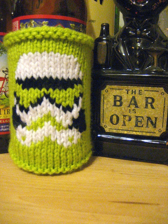 Neon Lime Green Knit Stormtrooper Star Wars Themed Beer Coozie