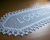 Crocheted Name Doilly, personalized doily, personalized gift, gift for women, personalized crochet, gift for family,