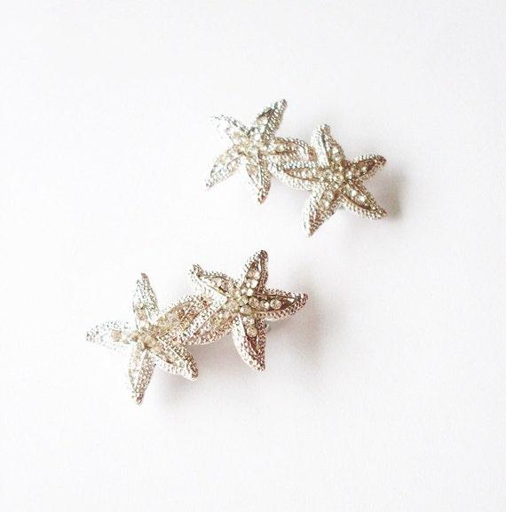 Rhinestone Starfish Barrettes Silver Crystal Hair Clips Bride Bridal Bridesmaid Nautical Destination Beach Wedding Accessories Womens Gift