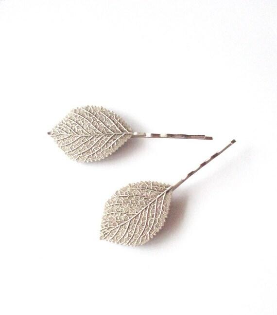 Silver Leaf Bobby Pins Bridal Hair Clips Bridesmaid Nature