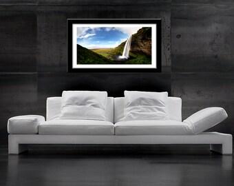 iceland photography, waterfall landscape, fine art photography, panorama print, seljalandsfoss, refreshing water