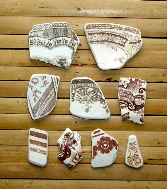 9 Brown Sea Pottery Shards - Scottish Beach Finds - Jewelry Supplies (977)