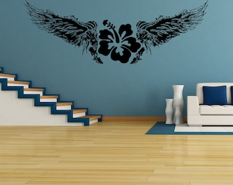Vinyl Wall Decal Sticker Hawaiian Flower with Wings OSAA246B