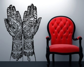 Vinyl Wall Decal Sticker Henna Hands OSAA383s