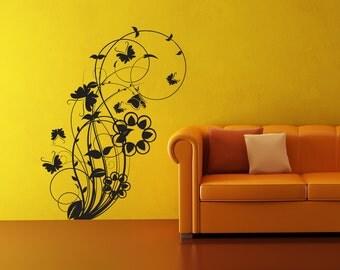 Vinyl Wall Decal Sticker Flower Butterfly Swirl 1011s