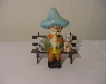 Vintage Boy On Bench With Horn Dog And Cat Plastic Figurine   12  - 453