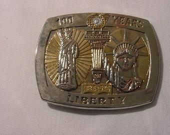 Vintage Statue Of Liberty Diamond Belt Buckle 100 Year Anniversary  12 -  461