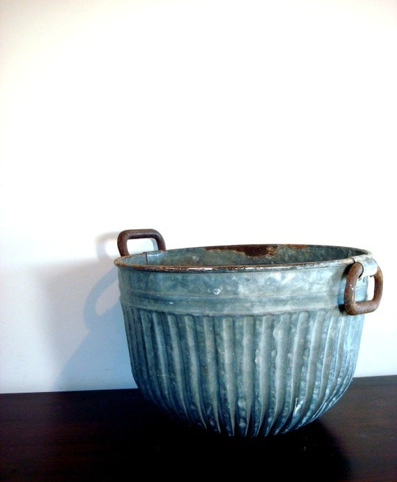 Vintage Over Sized Aluminum Farm Bucket with Handles