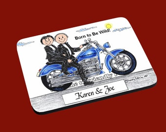 personalized Motorcycle Couple Mouse Pad