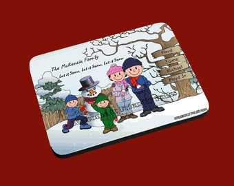 personalized Personalized Snowman and Family w 2 Boys image Mouse Pad