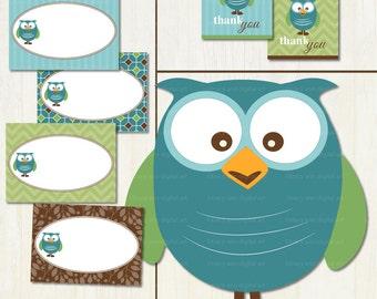 Hello Baby Mod Owl Baby Shower Printable Party Set DIY, Blue owl, Baby Shower, Digital