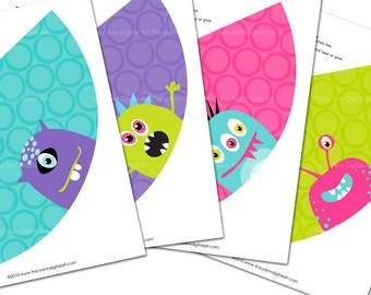 DIY Printable Monster Party Hats - Do it yourself