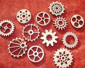 "Grouping Of 12 Small / Medium Wood Laser Cut Gears - Size E  1.5"" - 2"""