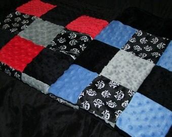 SKULL Minky Blanket - Boy Blanket - Boy Skull Blanket - Black Skull Bedding - Crossbones Minky Blanket- Ships in 1-3 Business Days