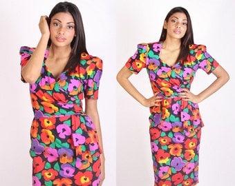 Vintage Designer Saks Fifth Avenue Dress / David Warren / Dress / Dresses  / Cotton Dress / Floral / Tropical / Origami / 1263