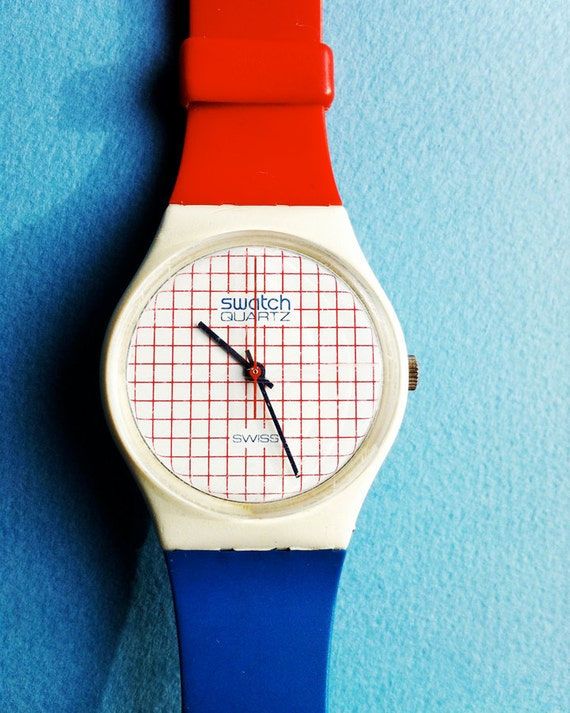 Vintage 1985 Unisex Swatch Watch - Tennis Grid design